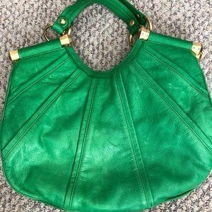 B Makowski beautiful green leather handbag